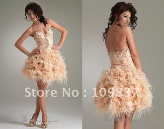 Most-Beautiful-Custom-Made-Ball-Gown-Mini-Sweetheart-Organza-Feathers-Homecoming-Dress